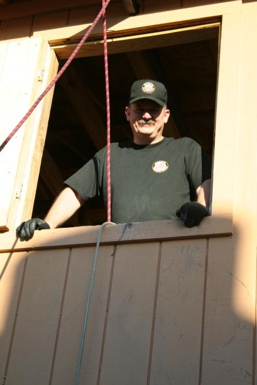 Chief Salka overseeing the emergency rope escape station in Baytown Texas